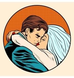 Kissing bride and groom wedding vector image