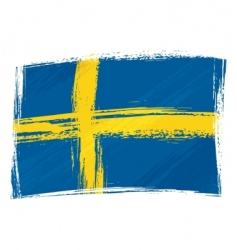 Grunge sweden flag vector
