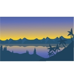 Silhouette of beach and hills vector