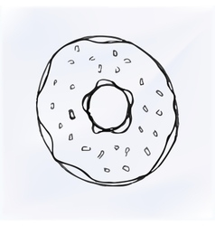 Freehand drawing bakery cafe doodles donut vector