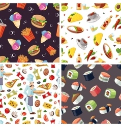 Seamless pattern with fast food icon set vector