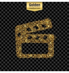 Gold glitter icon of clapboard isolated on vector