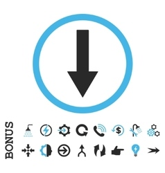 Down rounded arrow flat icon with bonus vector