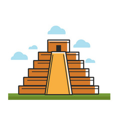 Ancient mayan pyramid on green grass under sky vector