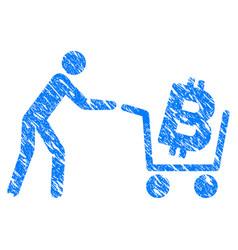 Bitcoin shopping cart grunge icon vector