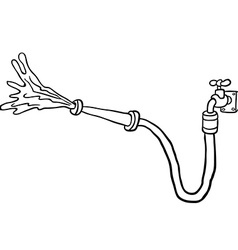 Black and white faucet with garden hose vector