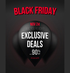 black friday poster template with realistic vector image