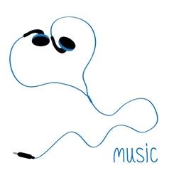 Blue earphones cord in shape of heart flat design vector