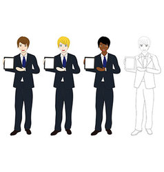 Business man presentation tablet vector