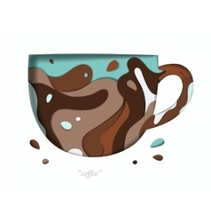 Carved paper cup brown vector