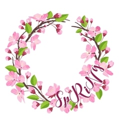 Cherry Blossom Spring Background - with Floral vector image vector image