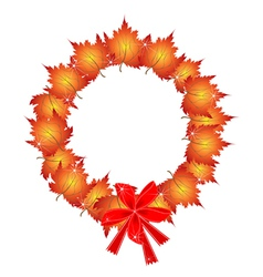 Christmas wreath of orange maple leaves and bows vector