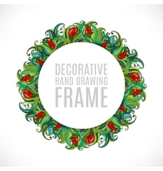 Colorful abstract hand-drawn round pattern green vector image