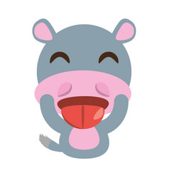 Cute hippo animal character funny vector