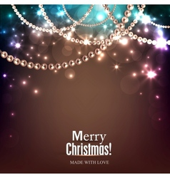 Elegant christmas background with golden garland vector image