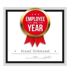 Employee of the year certificate template vector image