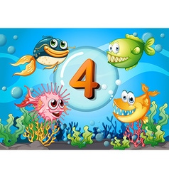Flashcard number 4 with 4 fish underwater vector