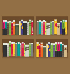 Flat bookshelf modern design vector