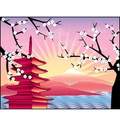 Fuji mount sakura tree and pagoda vector