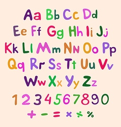 Hand-drawn alphabet art children vintage vector