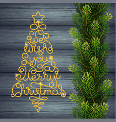 Holiday gift card with golden hand lettering we vector