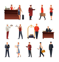 hotel staff flat icons set vector image