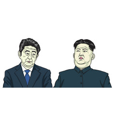 kim jong un with shinzo abe cartoon caricature vector image