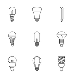 Lamp for home icons set outline style vector