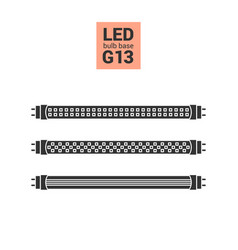Led light g13 bulbs silhouette icon set vector