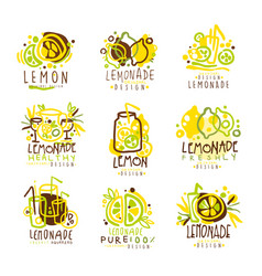 Lemonade green and yellow set for label design vector