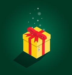 Merry Christmas yellow gift isometric vector image vector image
