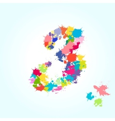 number three splash vector image