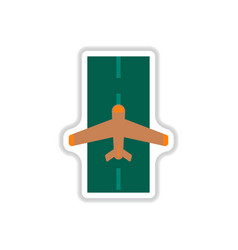 Paper sticker on white background airplane runway vector