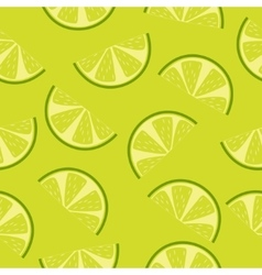 Seamless pattern of green lime slices vector image