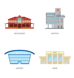 Set of urban buildings in a flat style restaurant vector