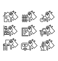 Sharing economy set of various outline icons vector