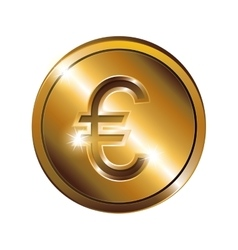 Silhouette with coin gold and currency symbol euro vector