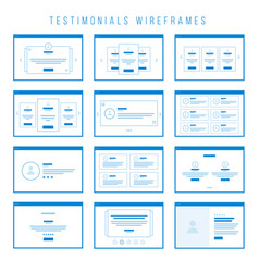 Testimonials wireframe components for prototypes vector