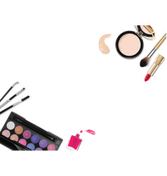 top view of various make up accessories decorative vector image