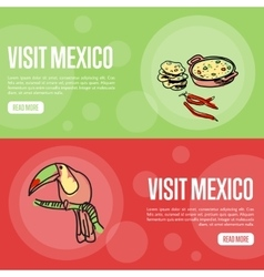 Visit Mexico Touristic Web Banners vector image vector image