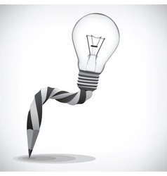 Pencil and light bulb concept of idea vector image