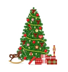 Beautiful decorated xmas tree isolated christmas vector