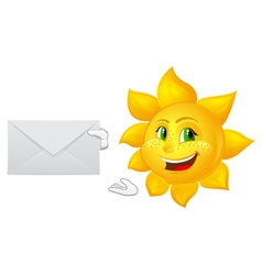 Postman cartoon sun with mail vector