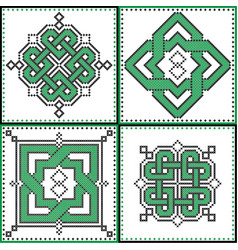 celtic endless decorative knots selection in tile vector image