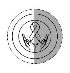 hands holding up breast cancer symbol vector image