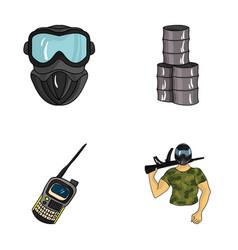 equipment mask barrel barricade paintball set vector image