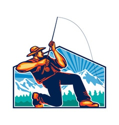 Fly fisherman reeling fishing rod retro vector