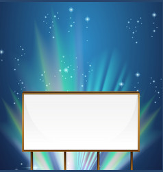 Whiteboard template with aurora sky in background vector