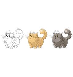 Cartoon cool standing surprised big cat set vector