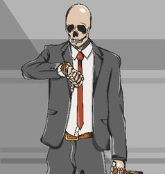 Working class skull employee on suit go to work vector